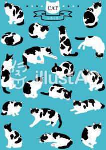 猫のイラストセット/白黒