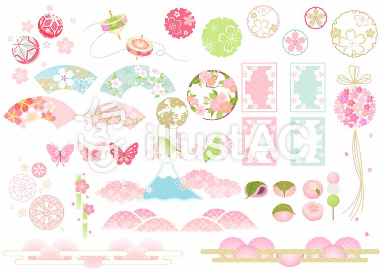 桜和風イラストセット