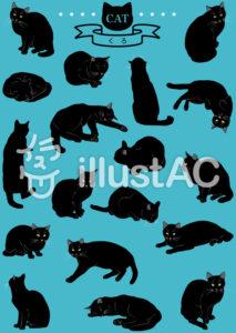 黒猫イラストセット