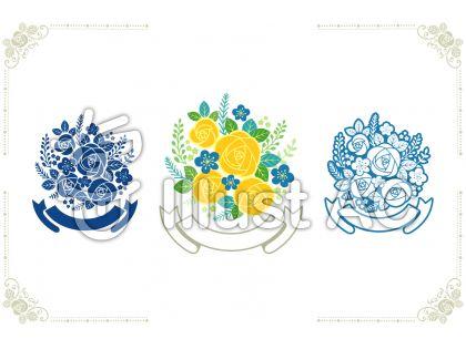 花束イラスト(青と黄)