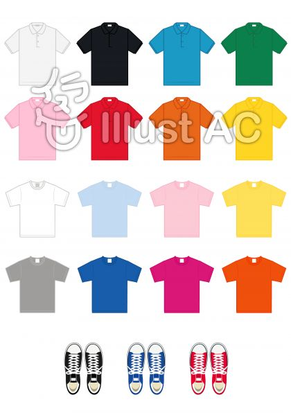 カラフルなtシャツとポロシャツとスニーカー